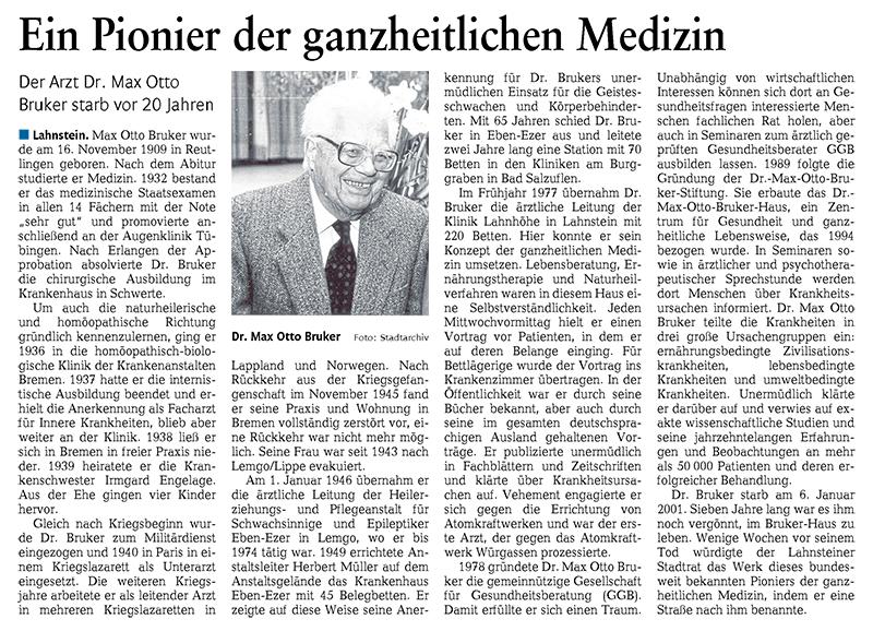 Dr. Bruker - Ein Pionier der ganzheitlichen Medizin
